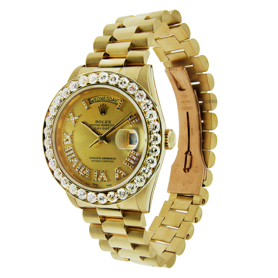 Rolex Day Date 18K Yellow Gold with custom Diamond Bezel & Hour Markers 36mm