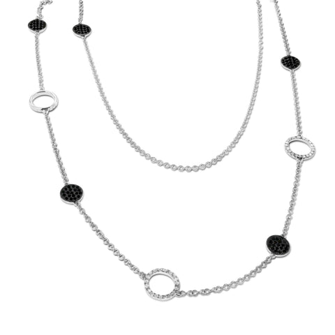 18K White Gold Black and White Diamond Circle Necklace 2.00CT