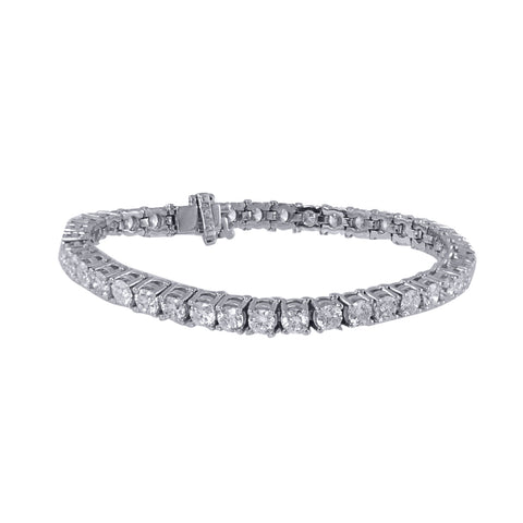 14K White Gold Diamond Tennis Bracelet With Round Cut Diamonds 10.00CT