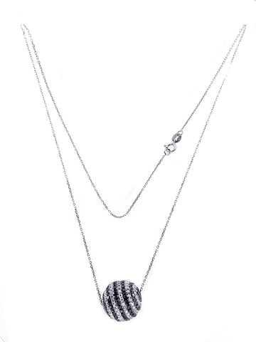 14k White Gold Ball Necklace with Black and White Diamonds 4.00CT