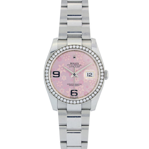 Rolex Datejust Diamond Watch, 116200 36mm, Stainless Steel with White Gold Diamond Bezel