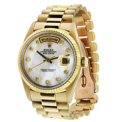 Rolex Day Date 18K Yellow Gold 36mm Mother of Pearl Diamond Dial