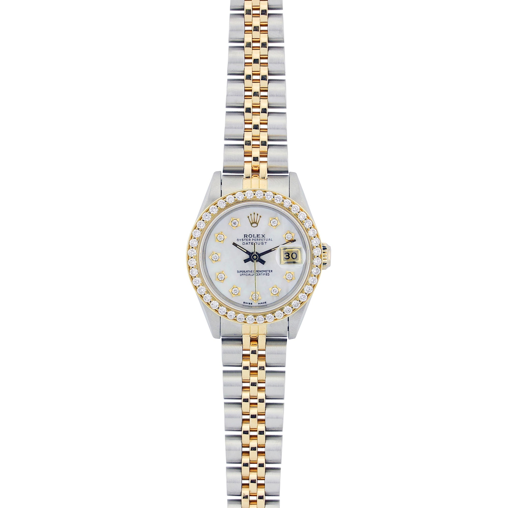 Vintage Two Tone Rolex Ladies Datejust Diamond Watch, 6917 26mm,