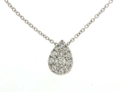 18K White Gold Pear Shaped Diamond Necklace 0.50CT