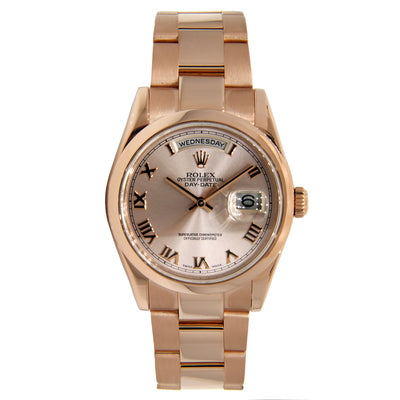 Rolex Day Date Domed Beze Rose Gold with Roman Numeral Dial 36mm 118205