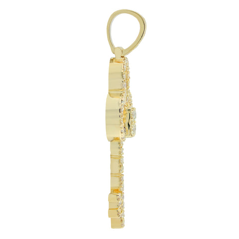 Yellow Gold Key Pendant with Diamonds Small