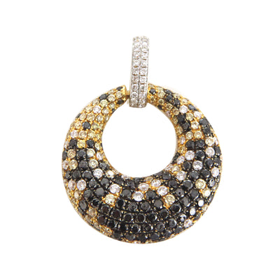 Ladies Yellow Gold Pendant with Multi Colored Diamonds