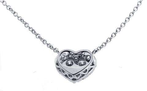 18K White Gold Diamond Heart Necklace With 0.50CT