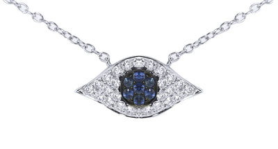 Diamond and Blue Sapphire Evil Eye Pendant