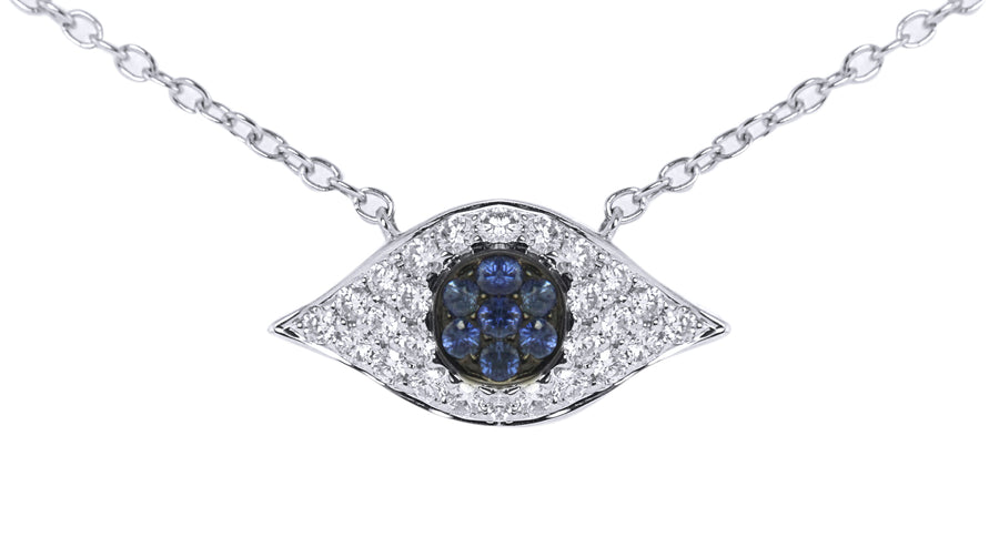 Ladies Diamond and Blue Sapphire Evil Eye Pendant