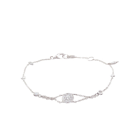 18K White Gold Chain Bracelet with Cluster Diamond Center And Round Cut Diamonds 0.50CT