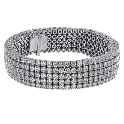 Men's Diamond Bracelet with Five Row Diamonds