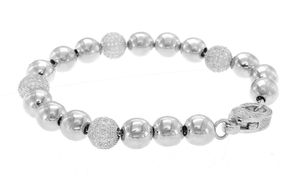 10K White Gold Diamond Bracelet With Round Cut Diamonds 5.00CT