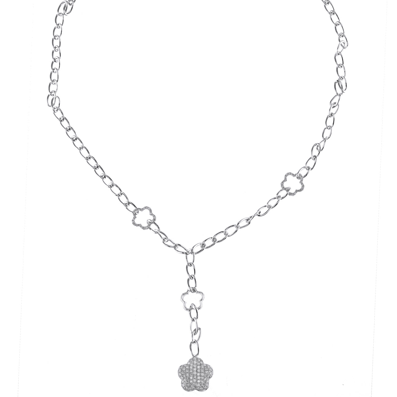 18K White Gold Chain with Diamonds and Star Pendant 1.43CT