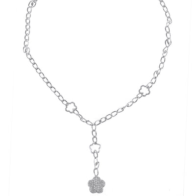 Ladies White Gold Chain with Diamonds and Star Pendant