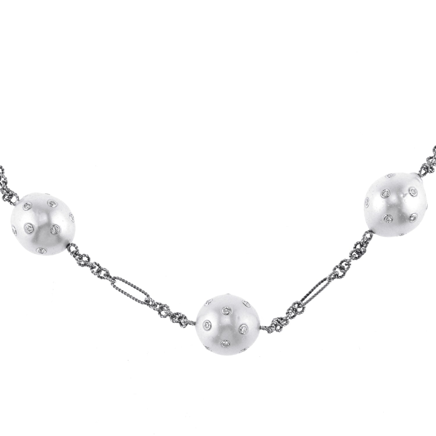 White Gold Chain with Diamond and Pearls
