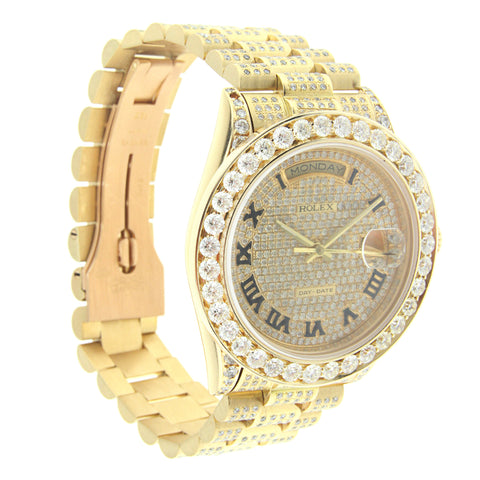 18K Yellow Gold Rolex Day Date President 36MM Diamond with Roman Numerals dial W/ 12CT Diamond Bezel and Lugs