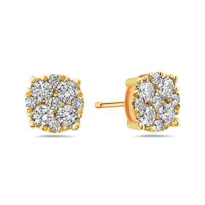 14K Yellow Gold Ladies Earrings With Diamonds -  0.50 CT - 1.55 CT