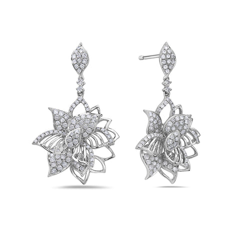 18K White Gold Ladies Earrings With 2.45 CT Diamonds