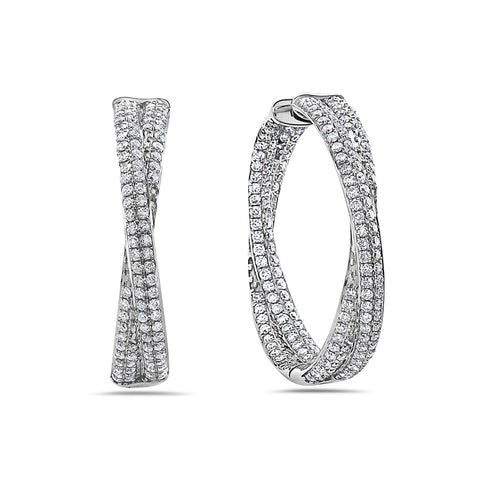 14K White Gold Ladies Earrings With 4.99 CT Diamonds
