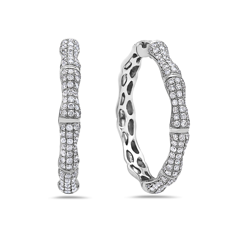 14K White Gold Ladies Earrings With 2.80 CT Diamonds