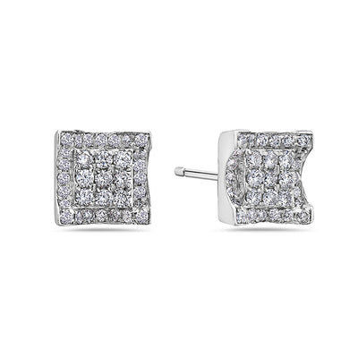 Unisex 14K White Gold Earrings With Round Shaped Diamonds