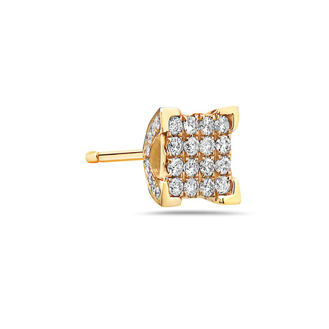 Unisex 14K Square Yellow Gold  Earrings With Round Shaped Diamonds