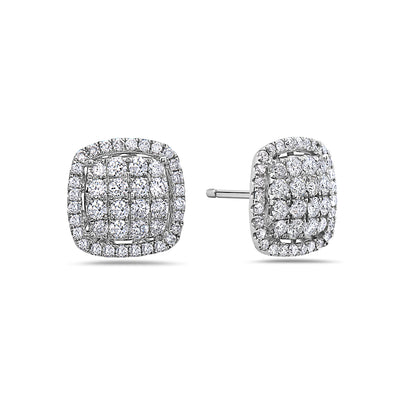 18K White Gold Ladies Earrings With 1.32 CT Diamonds
