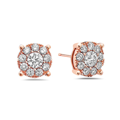 18K Rose Gold Ladies Earrings With 1.47 CT Diamonds