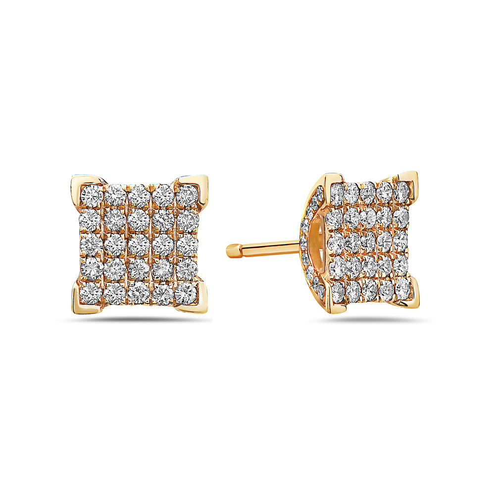 14K Yellow Gold Ladies Earrings With 1.21 CT Diamonds