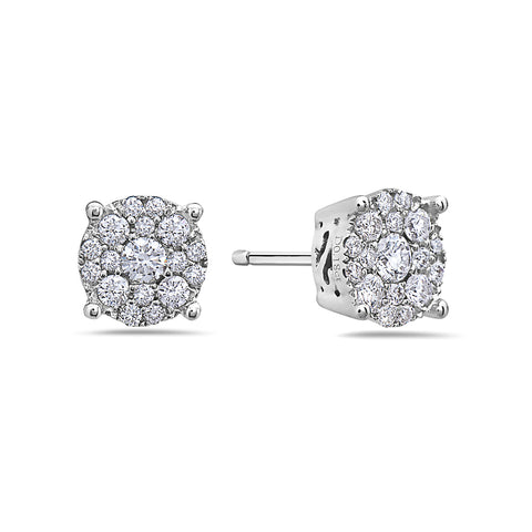 18K White Gold Ladies Earrings With 0.39 CT Diamonds