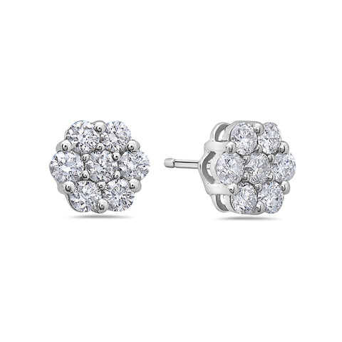 14K White Gold Ladies Earrings With 0.78 CT Diamonds