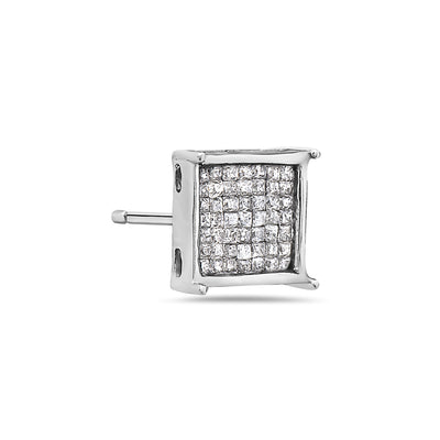 14K White Gold Ladies Earrings With 0.90 CT Diamonds