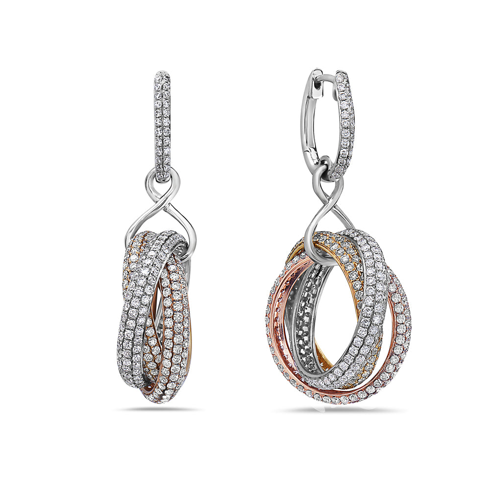 18K Yellow Gold Ladies Earrings With 8.75 CT Diamonds