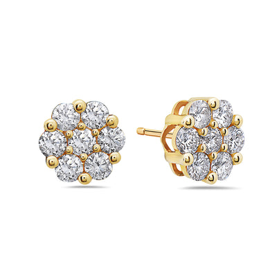 14K Yellow Gold Ladies Earrings With Diamonds 0.52 CT - 2.19 CT