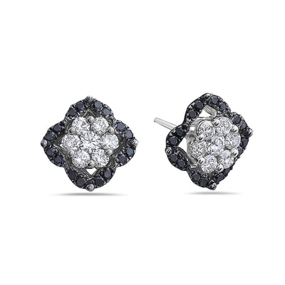 18K White Gold Ladies Earrings With 1.26 CT Diamonds