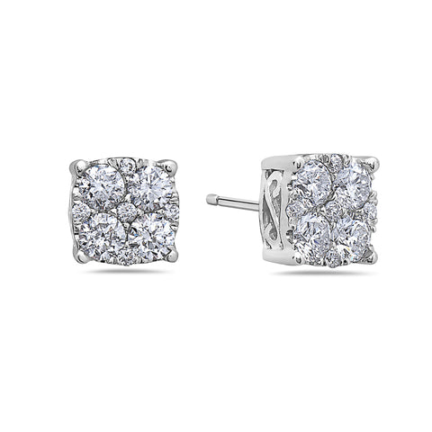 Unisex 14K White Gold Earrings With  Round Shape Diamonds