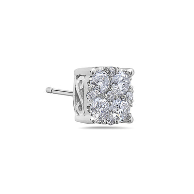 14K White Gold Ladies Earrings With Diamonds- 0.5 CT - 1.55 CT