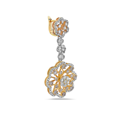 18K Yellow Gold Ladies Earrings With 2.98 CT Diamonds