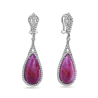 18K White Gold Ladies Earrings With White: 1.75 CTW Ruby: 19.39 CTW Diamonds