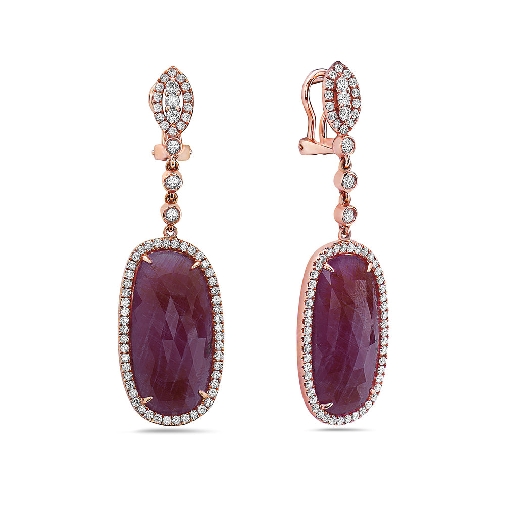 18K Rose Gold Ladies Earrings With White: 1.82 CTW Ruby: 25.03 CTW Diamonds