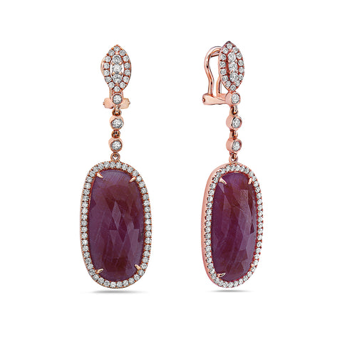 18K Rose Gold Ladies Earrings With Ruby And Diamonds