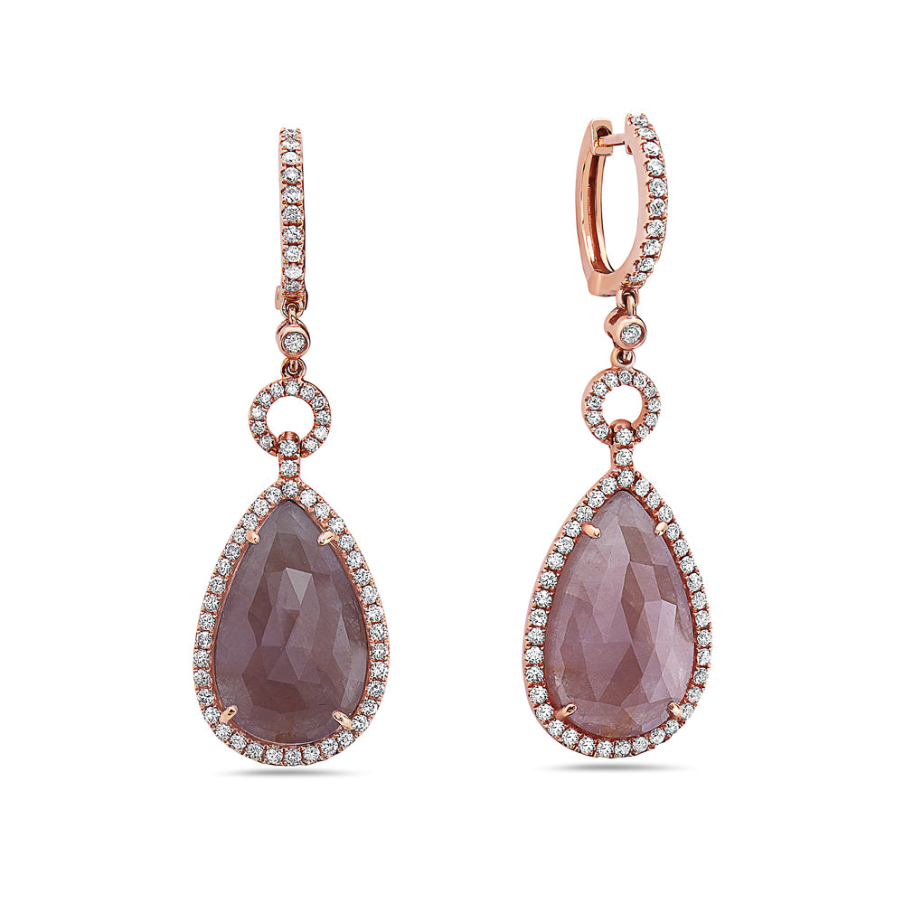 18K Rose Gold Ladies Earrings Diamonds and Rubies
