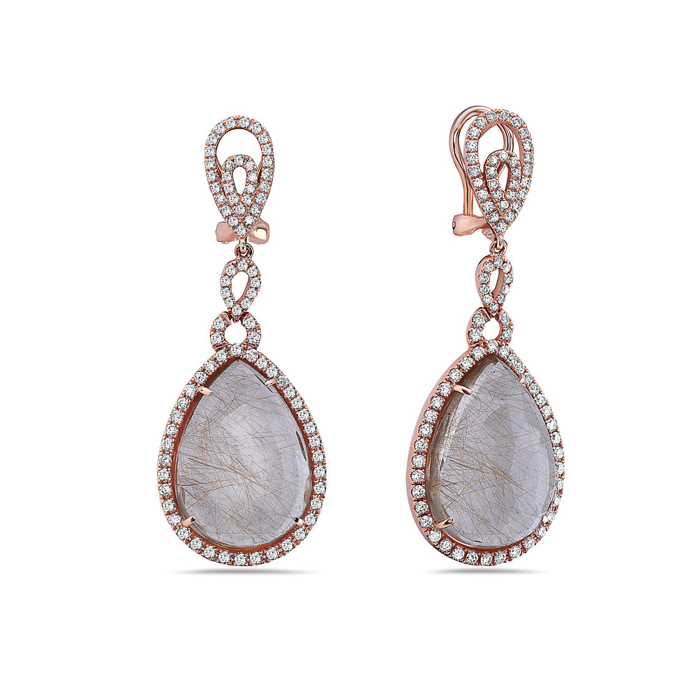 18K Rose Gold Ladies Earrings With White: 2.08 CTW Diamonds
