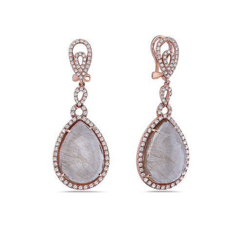 18K Rose Gold Ladies Earrings With White: 3.68 CTW Diamonds