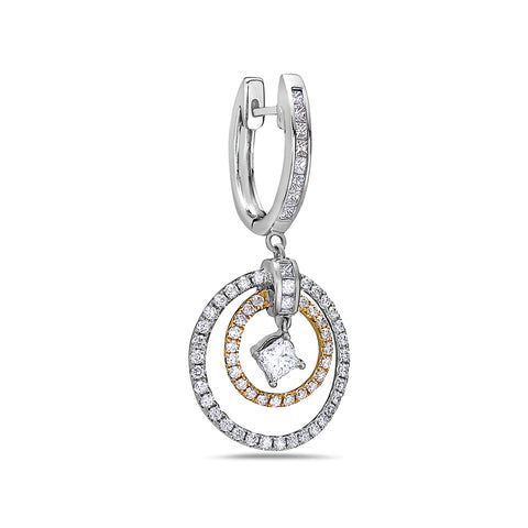 18K White Gold Ladies Earrings With 1.96 CT Diamonds