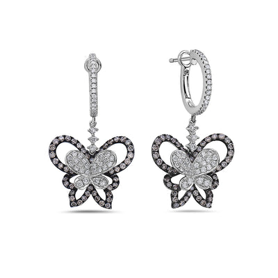 14K White Gold Ladies Earrings With 2.10 CT Diamonds