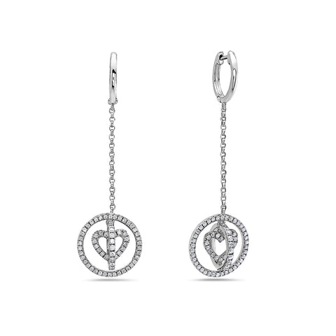 18K White Gold Ladies Earrings With 1.00 CT Diamonds
