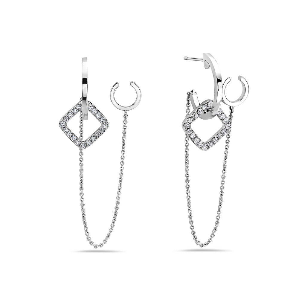 18K White Gold Ladies Earrings With Round Shaped Diamonds