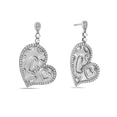 18K White Gold Ladies Earrings With 0.75 CT Diamonds